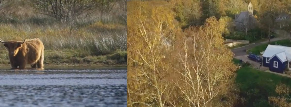 Aerial film of the Blue Cottage at Loch Awe and its surrounds