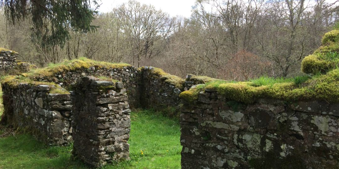 Ruin of a Crofting settlement on the Forestry Commission marked pathway through Barnaline Oakwoods and past Avich Falls, near Dalavich by Loch Awe